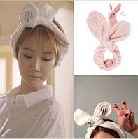 Домашняя повязка на голову розовая
