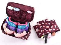 Дорожный органайзер для белья и косметики бордовый в цветочки