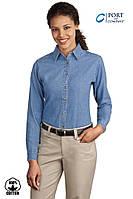 Женская джинсовая рубашка Port and Company® (США) LSP10 Faded Blue (Голубой деним)  с длинным рукавом , фото 1