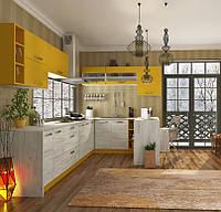 Кухня Шарлотта новинка Кухня 2,6 метров, дуб крафт белый/желтый