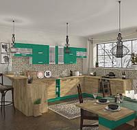 Кухня Шарлотта новинка Кухня 2,6 метров, дуб крафт золотой/абсент