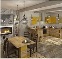 Кухня Шарлотта новинка Кухня 2,6 метров, дуб крафт золотой/желтый