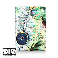 Обложка для паспорта Карта с компасом