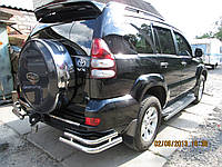 Защита заднего бампера (двойной угол) Toyota Land Cruiser Prado 120