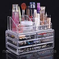 Акриловый настольный органайзер для косметики Cosmetic Organizer Makeup Container Storage Box 4 Drawer