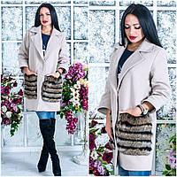 Женское кашемировое пальто с мехом OS-410
