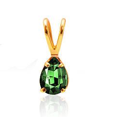 Золотой кулон с зеленым кварцем