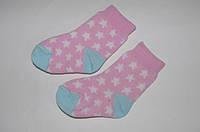 Детские носки размер 6-12 месяцев розовые с звездочками