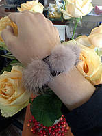 Резинка для волос с натуральным мехом норки. Бежевый