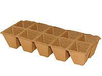 Кассета 2х5 из квадратных торфяных горшков,10 ячеек. Размер 60*60 мм(Ss60x60). Производитель Украина.