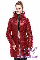 Женская  красная зимняя куртка батальных размеров (р. 42-56) арт. Юлианна