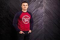 Мужской реглан красного цвета с синими рукавами Physical sports