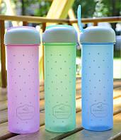 Бутылка для летних напитков 700мл (розовый, голубой, зеленый)