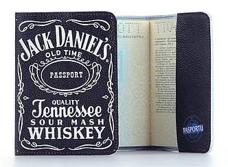 """Кожаная обложка на паспорт Jack Daniel""""s (Джек Дениелс)"""