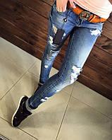 Стильные джинсы женские рваные мода 2017 Philipp Plein