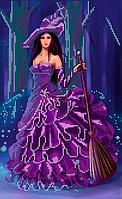 Схема для вышивки бисером Ведьмочка, размер 22х36 см