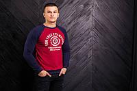 Мужской реглан красного цвета с синими рукавами For true champions