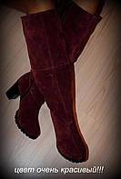 Сапоги цвета марсала демисезонные или зимние из натуральной замши сзади замочек код 1731/2