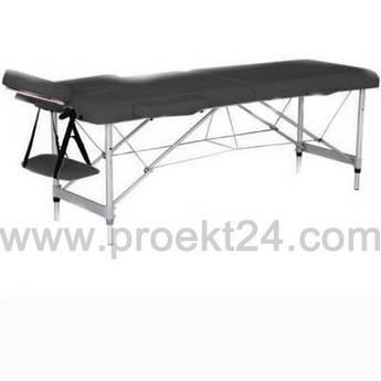 Массажный стол 2-х секционный (алюмин. рама) чёрный
