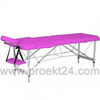Массажный стол 2-х секционный (алюмин. рама) розовый