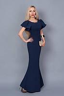 """Изысканное платье-футляр,с рукавами """"воланами"""" ,размер 40 темно-синее"""