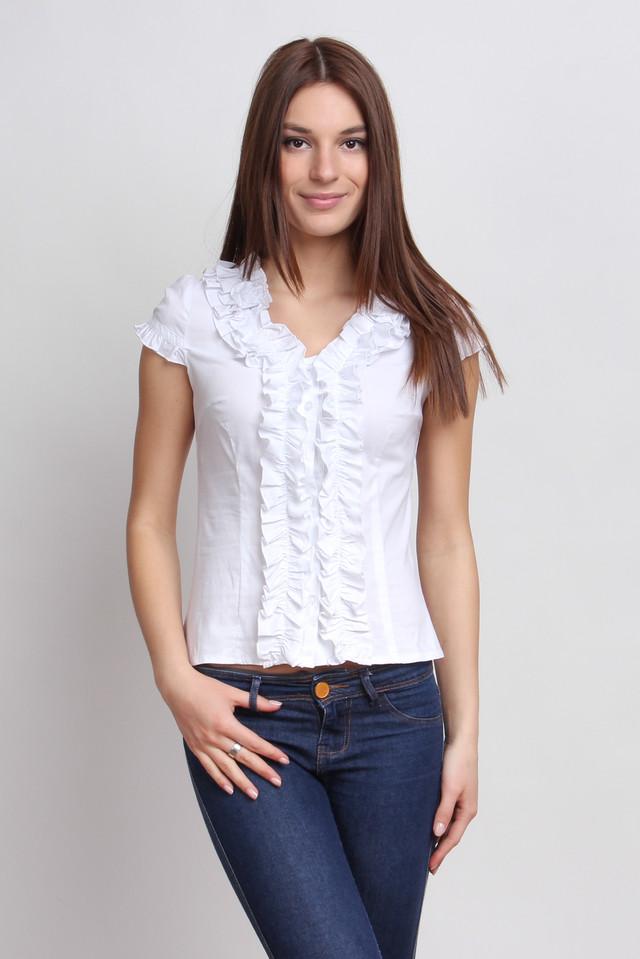 Белая блузка с рюшами, короткий рукав Р72