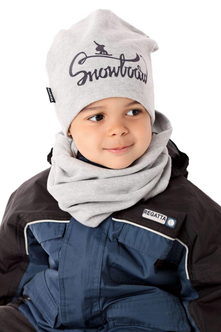 Теплая вязанная шапочка для мальчика от MARIKA Польша