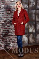 Женское пальто осень весна Вейси Крупное Букле красный+черный 44-48 размеры