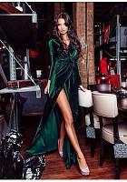 Женское платье Молли бархатное в пол на запах БАТАЛ