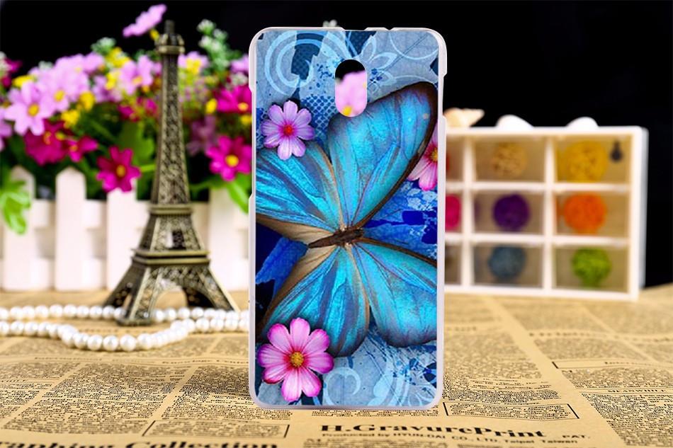 Чехол бампер силиконовый для HTC Desire 210 с рисунком синяя бабочка
