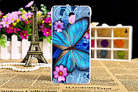 Чехол бампер силиконовый для HTC Desire 210 с рисунком синяя бабочка, фото 1
