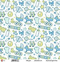 Бумага для скрапбукинга Детские вещи 180 гр/м.30,5*30,5 см, ТМ Санти, Великобритания