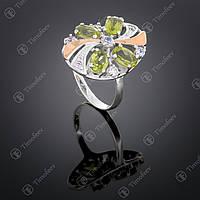 Серебряное кольцо с хризолитом и фианитами. Артикул П-249