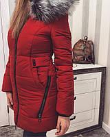 Зимняя женская куртка с меховым капюшоном к-3301186