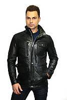 Куртка удлиненная, мужская, натуральная кожа, в черном цвете, фото 1