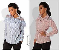 Стильная женская блузка с гипюром принт полоска / Украина / креп