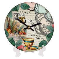 Часы настольные с принтом Чаепитие 18 см