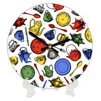 Круглые часы на кухню с принтом Кухонная утварь 18 см