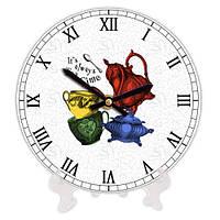 Круглые кухонные часы с принтом Утварь 18 см