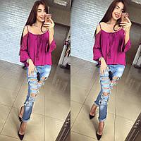 Женская блуза из вискозы с кружевом