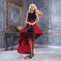 Женское платье Карамболь красная юбка со шлейфом