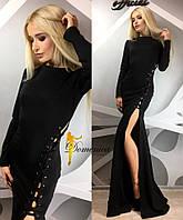 Женское платье в пол с вырезом у-31032517