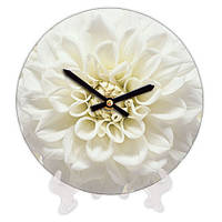Часы круглые для дома с принтом Белый цветок 18 см