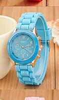 Спортивные  женские часы синего цвета на силиконовом браслете