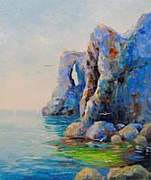 «Скалистый берег у моря» картина маслом