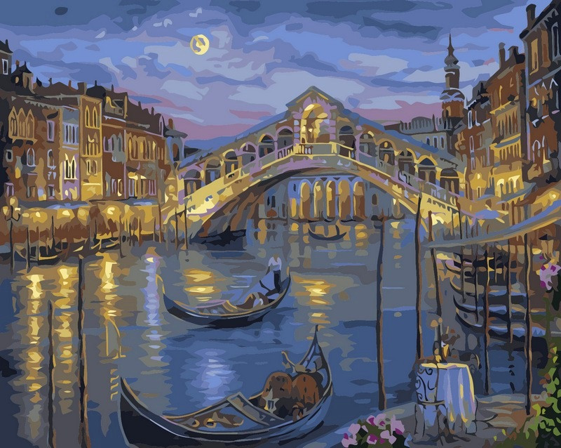 Рисование по номерам 40×50 см. Прошлой ночью на Гранд-канале Венеции Художник Роберт Файнэл