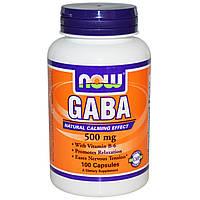 ГАМК (GABA), Now Foods, 500 мг, 100 капсул. Сделано в США.