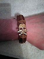 Мужской кожаный браслет на руку ЧЕРЕП, ручная работа