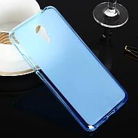 Прозрачно-матовый голубой силиконовый чехол-накладка для Meizu M3 Note