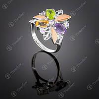 Серебряное кольцо с самоцветами. Артикул П-262